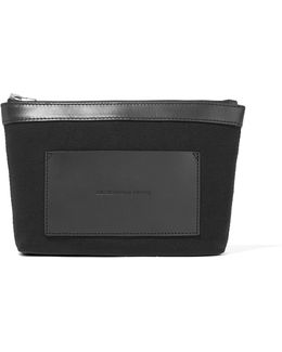 Leather-trimmed Canvas Pouch