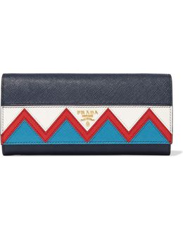 Zig Zag Textured-leather Continental Wallet
