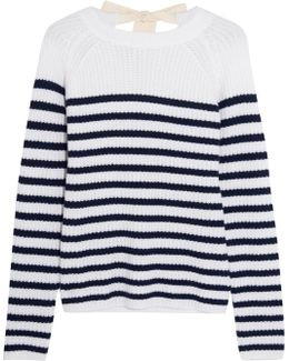 Bow-detailed Striped Cashmere Sweater