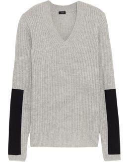 Twill-paneled Cashmere Sweater