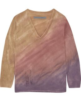 Boyfriends Distressed Tie-dyed Merino Wool And Cashmere-blend Sweater