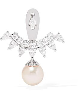 18-karat White Gold, Diamond And Pearl Earring