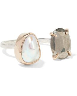 14-karat Gold, Sterling Silver, Pearl And Pyrite Ring