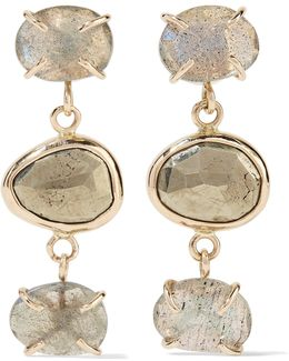 14-karat Gold, Labradorite And Pyrite Earrings