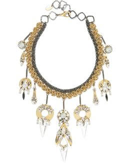 Milky Way Gold-plated, Pewter And Crystal Necklace