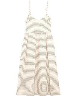 Striped Cotton-blend Midi Dress