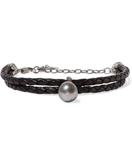 Braided Leather, Silver, Pearl And Crystal Bracelet