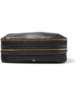 Textured Leather-trimmed Shell Jewelry Case