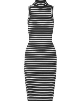 Striped Ribbed Stretch-knit Turtleneck Dress