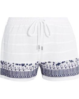 Embellished Embroidered Cotton Shorts