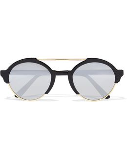 Milan Iii Round-frame Acetate And Gold-tone Mirrored Sunglasses