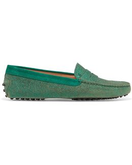 Gommino Suede-trimmed Glittered Leather Loafers
