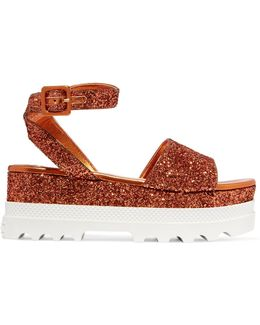 Glittered Leather Platform Sandals