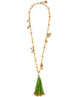 Aloha Gold-plated, Raffia And Quartz Necklace