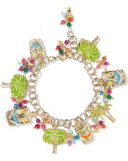 Enameled Gold-tone Beaded Charm Bracelet