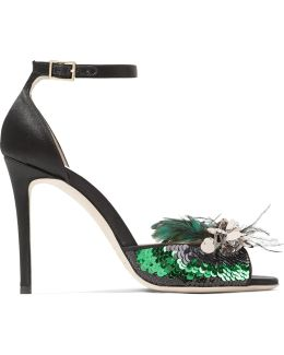 Annie Sequin And Feather-embellished Satin Sandals