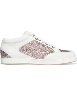 Miami Glitter-paneled Leather Sneakers