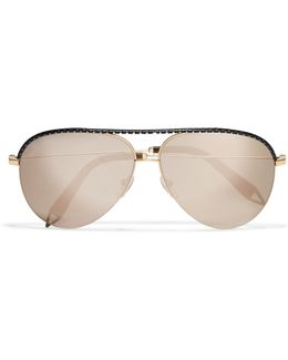 Aviator-style Gold-tone And Perforated Leather Mirrored Sunglasses