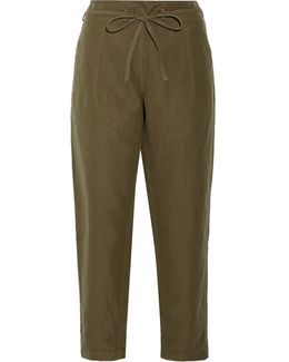 Agata Cotton And Linen-blend Twill Straight-leg Pants