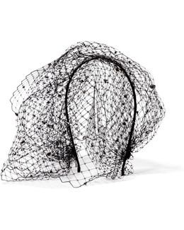 Beehive Swarovski Crystal-embellished Veiled Headband