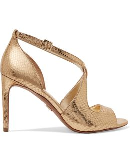 Estee Metallic Snake-effect Leather Sandals