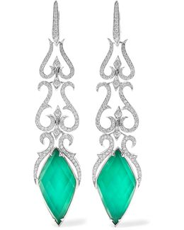 Belle Epoque 18-karat White Gold, Agate And Diamond Earrings