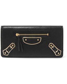 Metallic Edge Textured-leather Wallet