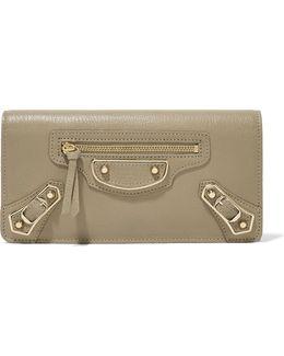 Classic Metallic Edge Textured-leather Wallet