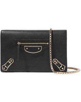 Metallic Edge Chain Textured-leather Wallet