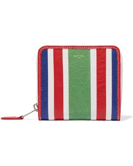Striped Textured-leather Wallet