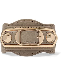 Metallic Edge Textured-leather And Gold-tone Bracelet