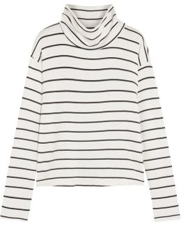 Striped Stretch-modal Terry Turtleneck Top