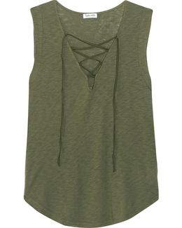 Lace-up Micro Modal And Stretch Supima Cotton-blend Jersey Top