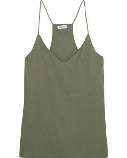 Sandwashed Ribbed-knit Camisole