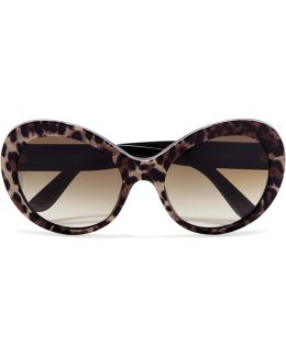 Cat-eye Printed Acetate Sunglasses