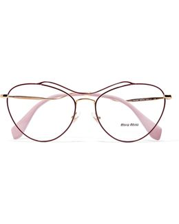 Cat-eye Acetate And Gold-tone Optical Glasses