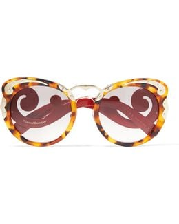 Cat-eye Tortoiseshell Acetate And Gold-tone Sunglasses
