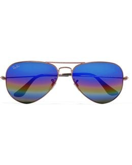 Aviator Glittered Metal Mirrored Sunglasses