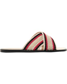 Keaton Striped Woven Coated-cotton Slides