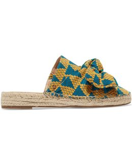 Lynda Patterned Fabric Bow Detail Espadrille Mules