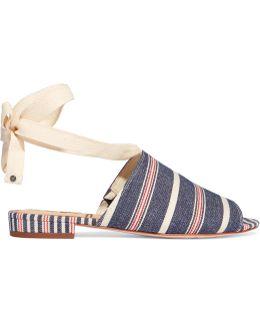Tai Striped Woven Canvas Sandals