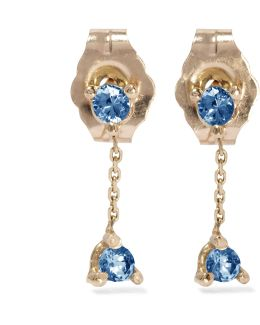 Two-step 14-karat Gold Sapphire Earrings
