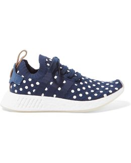 Nmd R2 Leather-trimmed Polka-dot Primeknit Sneakers