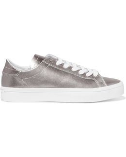 Court Vantage Metallic Smooth And Textured-leather Sneakers