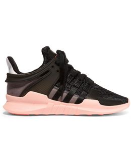 Equipment Support Adv Rubber And Suede-paneled Stretch-knit Sneakers