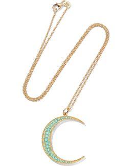 Luna 18-karat Gold Turquoise Necklace