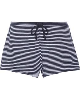Striped Pima Cotton And Modal-blend Pajama Shorts