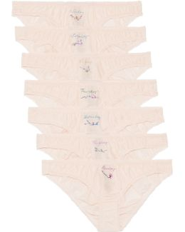 Knickers Of The Week Set Of Seven Embroidered Cotton And Silk-blend Briefs