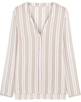 Lara Striped Voile Pajama Shirt
