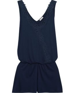 Livia Lace-trimmed Modal-jersey Playsuit